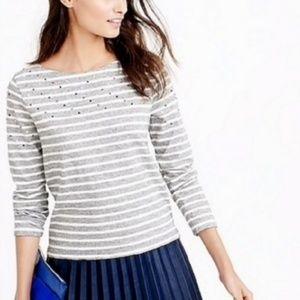 💖 J. Crew Embellished Striped Top Size XL